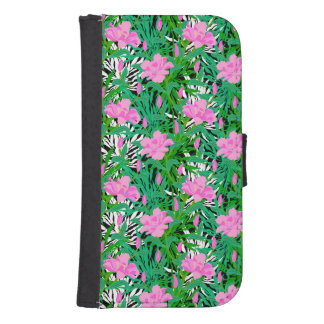 Tropical Pattern With Jungle Flowers Samsung S4 Wallet Case