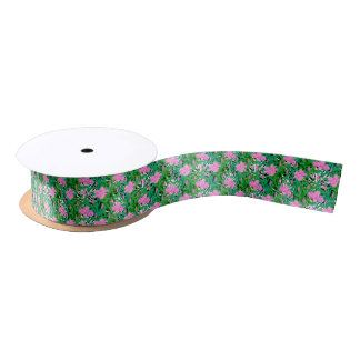 Tropical Pattern With Jungle Flowers Satin Ribbon