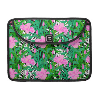 Tropical Pattern With Jungle Flowers Sleeve For MacBooks