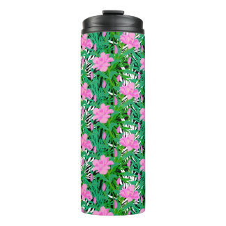 Tropical Pattern With Jungle Flowers Thermal Tumbler