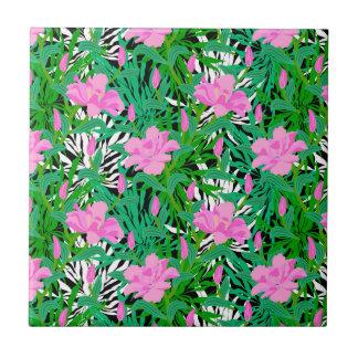 Tropical Pattern With Jungle Flowers Tile