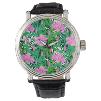 Tropical Pattern With Jungle Flowers Watch
