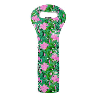 Tropical Pattern With Jungle Flowers Wine Bag