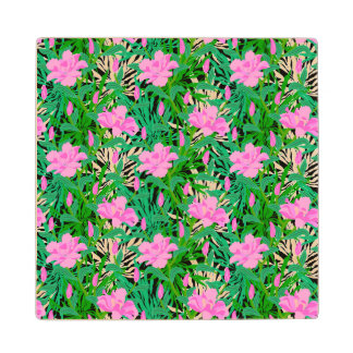 Tropical Pattern With Jungle Flowers Wood Coaster