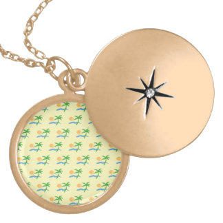 tropical pattern yellow background round locket necklace