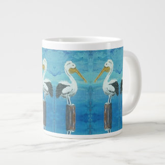 Tropical Pelican Jumbo Coffee Mug – Blue, White