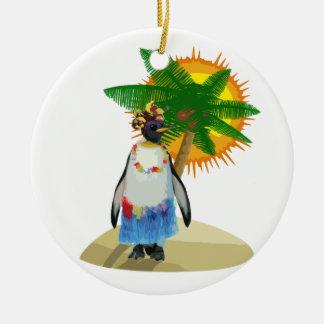 Tropical penguin christmas ornament