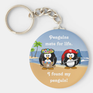 Tropical Penguins Couple Hula Pirate Island Beach Basic Round Button Key Ring