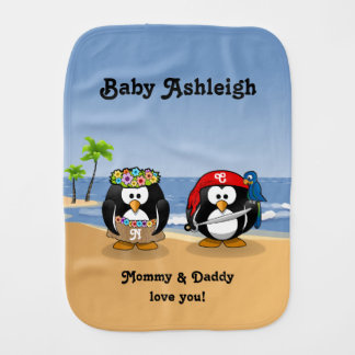 Tropical Penguins Couple Hula Pirate Island Beach Burp Cloth