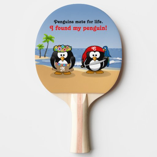 Tropical Penguins Couple Hula Pirate Island Beach Ping-Pong Paddle