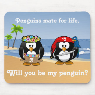 Tropical Penguins Couple Hula Pirate Island Beach Mouse Mat