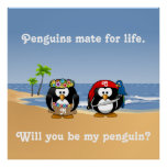 Tropical Penguins Couple Hula Pirate Island Beach Poster