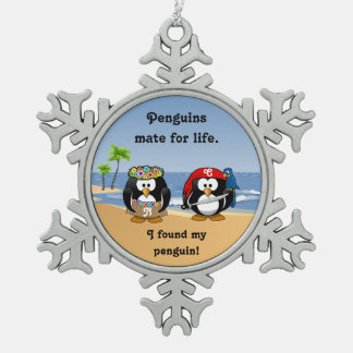 Tropical Penguins Couple Hula Pirate Island Beach Snowflake Pewter Christmas Ornament