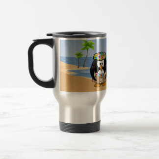 Tropical Penguins Couple Hula Pirate Island Beach Stainless Steel Travel Mug