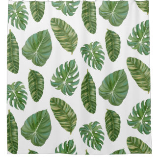Tropical Philodendron Elephant Ear Banana Leaf Art Shower Curtain