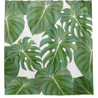 Tropical Philodendron Elephant Ear Leaves Leaf Art Shower Curtain
