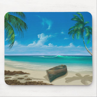 Tropical Photo of Beach and Palm Trees Mouse Pad