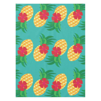 Tropical Pineapple and Hibiscus Summer Tablecloth