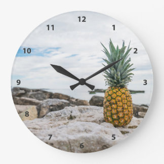 Tropical Pineapple at the Beach Large Clock