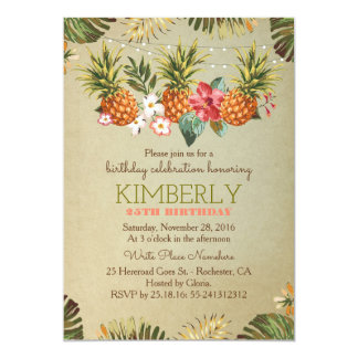 tropical pineapple beach lights birthday party card