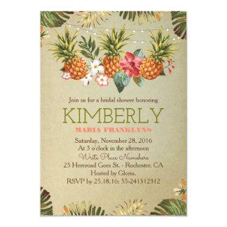 tropical pineapple beach lights bridal shower 13 cm x 18 cm invitation card