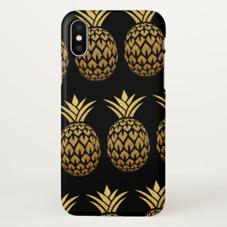 Tropical Pineapple Black and Gold Foil iPhone X Case