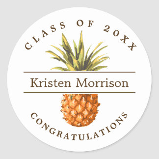Tropical Pineapple Class of Graduation Party Favor Classic Round Sticker