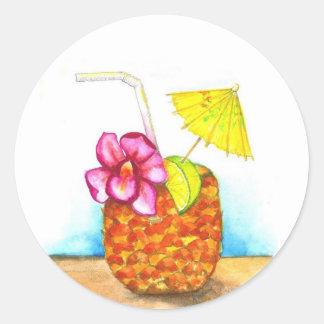 Tropical Pineapple drink, Hawaiian style sticker. Classic Round Sticker
