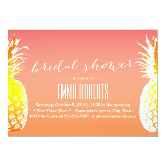 Tropical Pineapple Elegant Bridal Shower 13 Cm X 18 Cm Invitation Card
