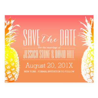 Tropical Pineapple Elegant Wedding Save the Date Postcard