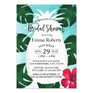 Tropical Pineapple Flower Bridal Shower Watercolor Card