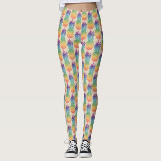 Tropical pineapple fruit pattern print leggings
