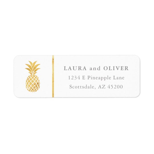 Tropical Pineapple Gold Return Address Labels