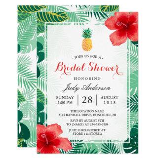 Tropical Pineapple Hawaiian Hibiscus Bridal Shower 13 Cm X 18 Cm Invitation Card