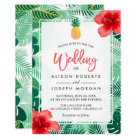 Tropical Pineapple Hawaiian Hibiscus Wedding Card