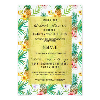 Tropical Pineapple & Hibiscus Bridal Shower 13 Cm X 18 Cm Invitation Card