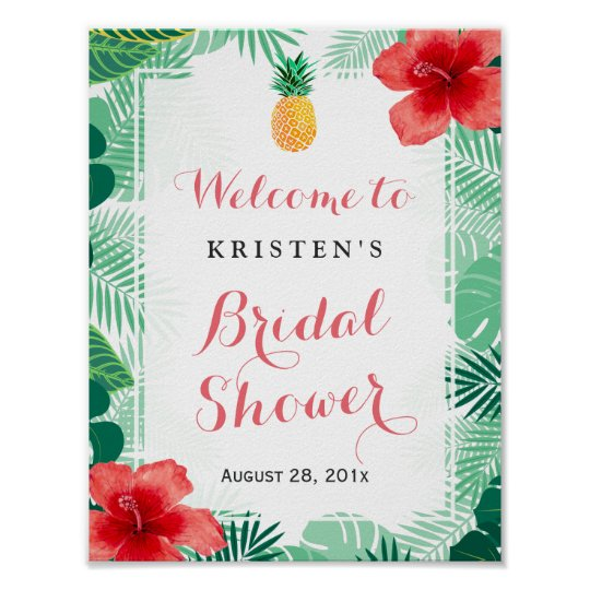 Tropical Pineapple Hibiscus Bridal Shower Sign Poster