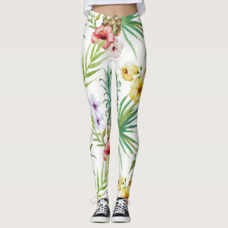 Tropical pineapple hibiscus foliage yellow pink leggings