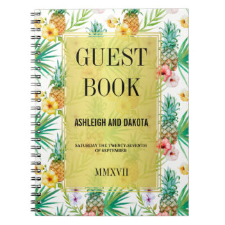 Tropical Pineapple & Hibiscus Wedding Guestbook Note Books