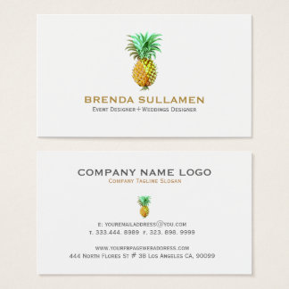Tropical Pineapple In Yellow Gold & Green Business Card