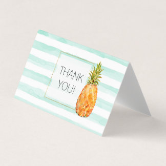 Tropical Pineapple Mint Stripes Thank you Card