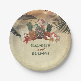 Tropical Pineapple Palm String Lights Beach Paper Plate