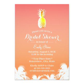 Tropical Pineapple & Palm Trees Bridal Shower 13 Cm X 18 Cm Invitation Card
