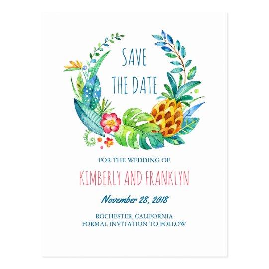 Tropical Pineapple Palms Beach Save the Date Postcard