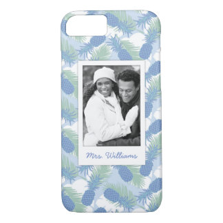 Tropical Pineapple Pattern | Add Your Photo & Name iPhone 8/7 Case