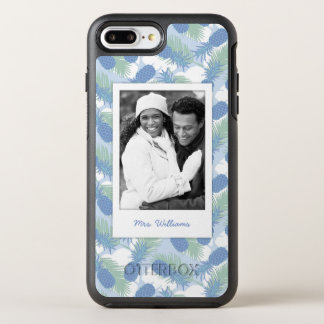 Tropical Pineapple Pattern | Add Your Photo & Name OtterBox Symmetry iPhone 8 Plus/7 Plus Case