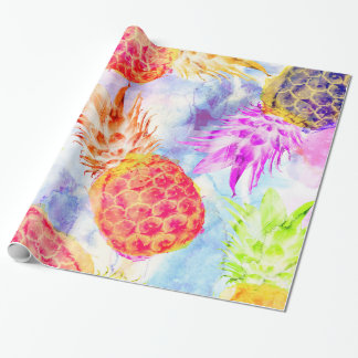 Tropical Pineapple Pattern Beautiful Watercolor Wrapping Paper