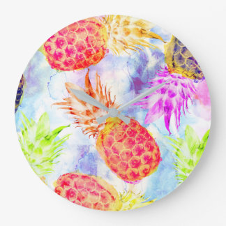 Tropical Pineapple Pattern Colorful Watercolor Large Clock