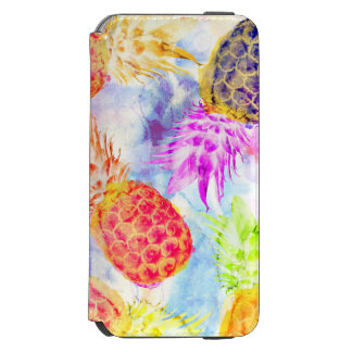 Tropical Pineapple Pattern Modern Watercolor Incipio Watson™ iPhone 6 Wallet Case