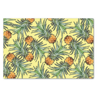 Tropical Pineapple Pattern on Yellow Tissue Paper